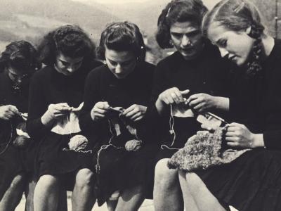 Young Women Knitting-A^ Villani-Photographic Print