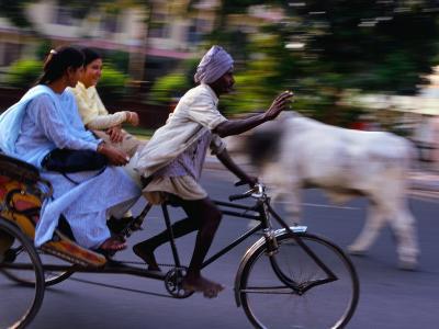Young Women on Cycle Rickshaw, Lucknow, Uttar Pradesh, India-Greg Elms-Photographic Print