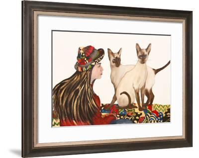 Young women with Siamese Cats-Susan Adams-Framed Giclee Print