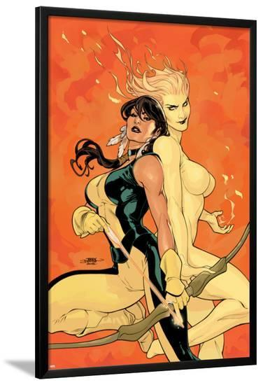 Young X-Men No.2 Cover: Magma and Moonstar-Terry Dodson-Lamina Framed Poster