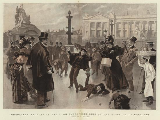 Youngsters at Play in Paris, an Improvised Rink in the Place De La Concorde--Giclee Print