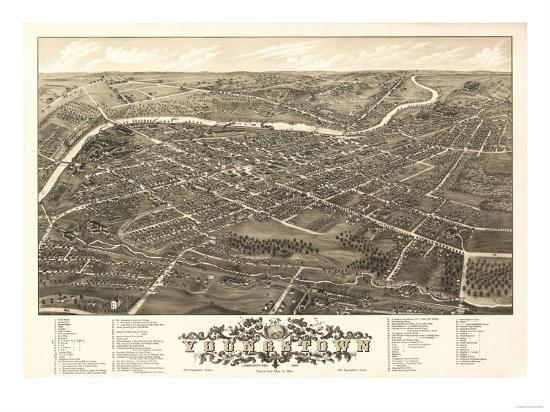 Youngstown, Ohio - Panoramic Map-Lantern Press-Art Print