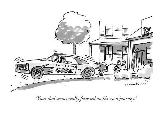 """Your dad seems really focussed on his own journey."" - New Yorker Cartoon-Michael Crawford-Premium Giclee Print"