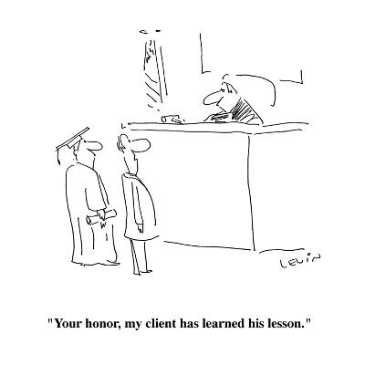 """""""Your honor, my client has learned his lesson."""" - Cartoon-Arnie Levin-Premium Giclee Print"""