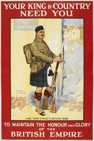 Your King and Country Need You'. a Recruitment Poster Showing a Scottish Soldier--Giclee Print