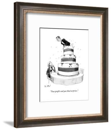 """""""Your profile said you liked surprises."""" - New Yorker Cartoon-Will McPhail-Framed Premium Giclee Print"""