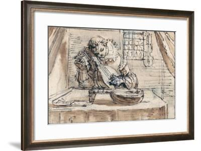 Youth Tuning His Instrument-Crispin I De Passe-Framed Giclee Print