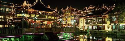 Yu Yuan Tea House and Shops at Night, Yu Yuan Shangcheng, Yu Gardens Bazaar, Shanghai, China, Asia-Gavin Hellier-Photographic Print
