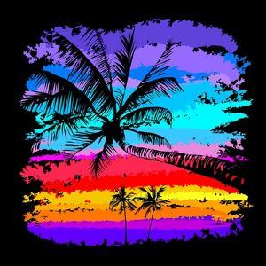 Black Silhouettes of Palm Trees on a Background of Multicolored Tropical Sunset by yulianas