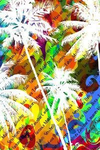 Multicolor Abstract Tropical Background with the Names of Tropical Resorts and White Silhouettes Of by yulianas