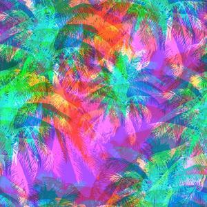 Tropical Pattern Depicting Pink and Purple Palm Trees with with Yellow Highlights Reflections on a by yulianas