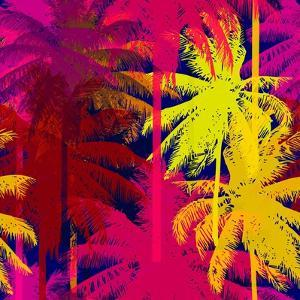 Tropical Seamless Pattern Depicting Pink and Purple Palm Trees with with Yellow Highlights Reflecti by yulianas