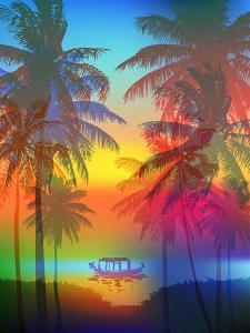 Tropical Sunset on Palm Beach and Fishing Boat, Can Be Used for a Poster, or Printing on Fabric by yulianas
