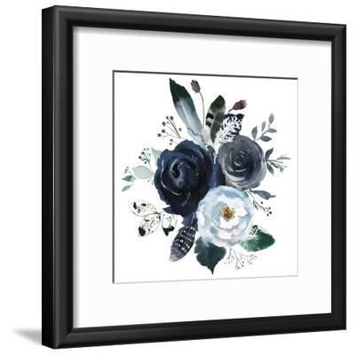 Watercolor Floral Wreath Roses Peonies Leaves Boho Grey Navy White Indigo Blue Isolated on White Ba by Yuliya Podlinnova