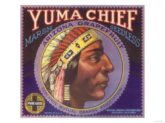 Yuma Chief Orange Label - Redlands, CA-Lantern Press-Art Print
