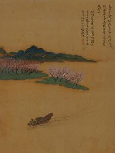 Hermit Fishing on the Peach Blossom Stream, in the Style of Zhao Mengfu, from an Album of Ten… by Yun Shouping