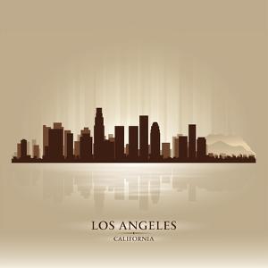 Los Angeles, California Skyline City Silhouette by Yurkaimmortal