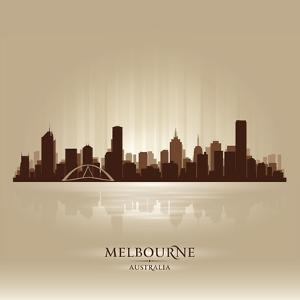 Melbourne Australia Skyline City Silhouette by Yurkaimmortal