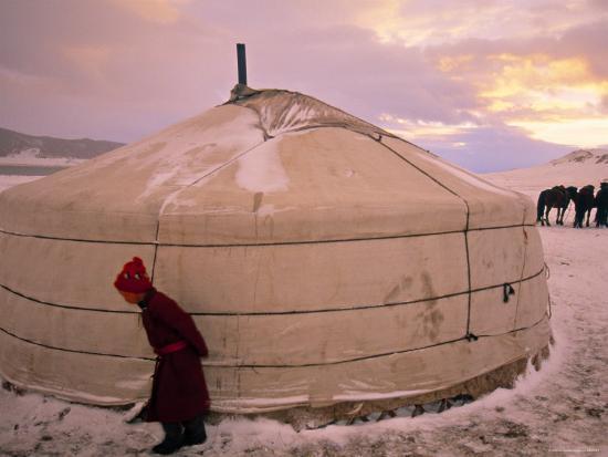 Yurts, Mongolia-Peter Adams-Photographic Print