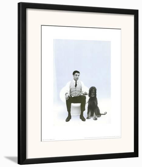 Yves Klein with Afghan Hound, c.1959-Charles Wilp-Framed Art Print