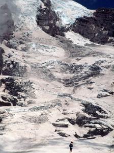 Hiker and Face of Mt. Rainier, WA by Yvette Cardozo