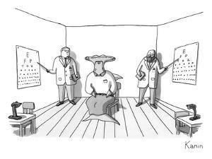 A hammerhead shark gets his eyesight check by two eye doctors in either co? - New Yorker Cartoon by Zachary Kanin
