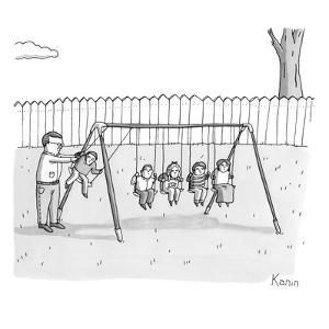 A man is seen swinging a group of kids like a set of Newton's Cradle. - New Yorker Cartoon by Zachary Kanin