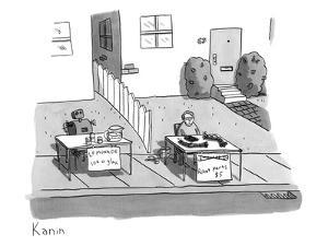 A robot and a boy have stands set up next to each other. The robot sells l? - New Yorker Cartoon by Zachary Kanin