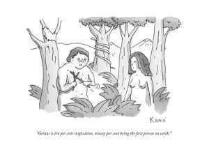 """""""Genius is ten per cent inspiration, ninety per cent being the first perso..."""" - New Yorker Cartoon by Zachary Kanin"""