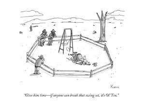 """""""Give him time?if anyone can break that swing set, it's Ol' Tex."""" - New Yorker Cartoon by Zachary Kanin"""