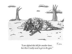 """""""I can defend this hill for another hour, but then I really need to get to?"""" - New Yorker Cartoon by Zachary Kanin"""