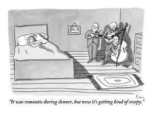 """""""It was romantic during dinner, but now it's getting kind of creepy."""" - New Yorker Cartoon by Zachary Kanin"""