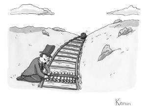 Sinister looking man ties bowling pins to a set of train tracks as a bowli? - New Yorker Cartoon by Zachary Kanin