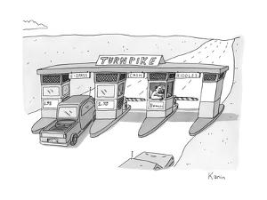 """There is a toll both with a """"riddles"""" lane. The toll taker is a troll. - New Yorker Cartoon by Zachary Kanin"""