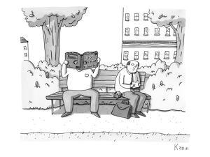 Two men on a bench. One is eating a sandwich, the other is looking through? - New Yorker Cartoon by Zachary Kanin