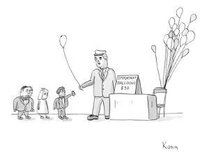 """Vendor selling """"Important Balloons"""" for thirty dollars to children in suits. - New Yorker Cartoon by Zachary Kanin"""
