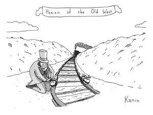 Villainous individual in old-western garb maliciously places sandwiches on? - New Yorker Cartoon by Zachary Kanin