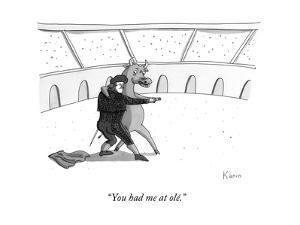 """You had me at olé."" - New Yorker Cartoon by Zachary Kanin"