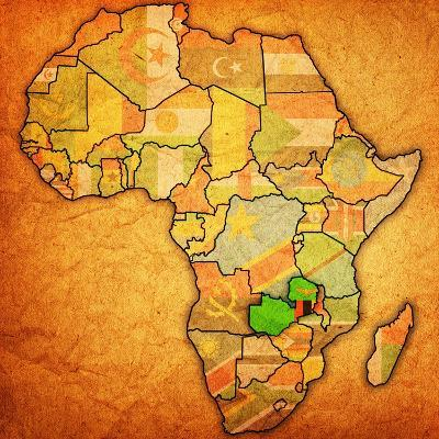 Zambia on Actual Map of Africa-michal812-Art Print