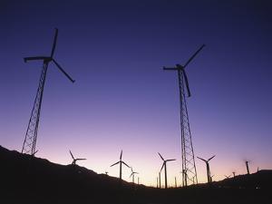 USA, California, Palm Springs, View of Wind Turbines at Sunset by Zandria Muench Beraldo