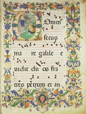"Page of Choral Music with Historiated Initial ""O"" Depicting the Calling of St. Peter and St. Andrew"