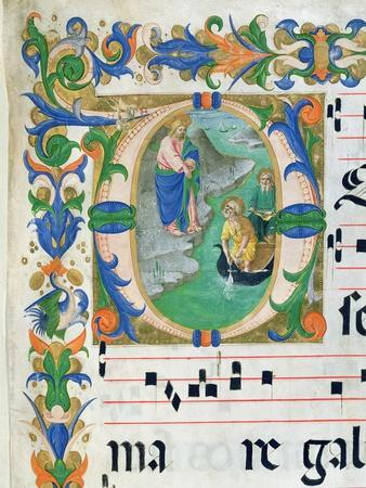 The Miraculous Draught of Fishes, from a Choir Book, Executed Before 1449