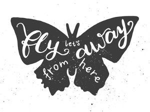 Butterfly Lettering Poster by zapolzun
