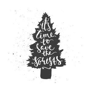 Tree Lettering Poster by zapolzun