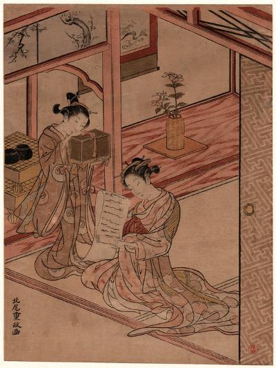 Zashiki No Yujo to Kamuro-Kitao Shigemasa-Giclee Print