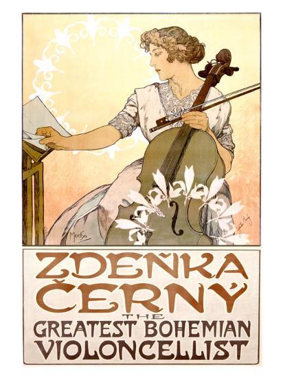Zdenka Cerny Cello Concert-Alphonse Mucha-Giclee Print