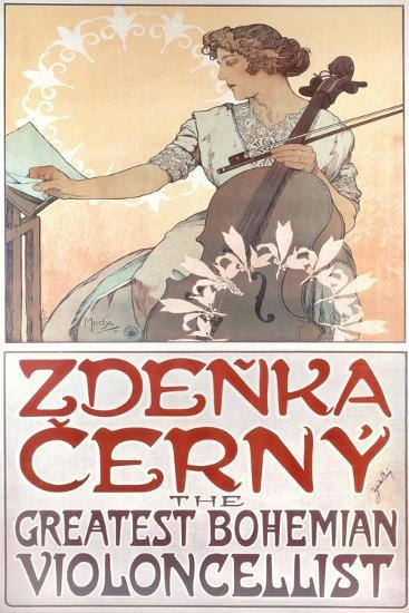 Zdenka Cerny, the Greatest Bohemian Violoncellist, 1913-Alphonse Mucha-Giclee Print