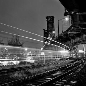 Steel Bridge with Train Passing by Zeb Andrews