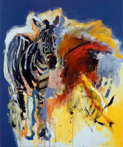 Zebra And Colours-Carlos Blaaker-Art Print