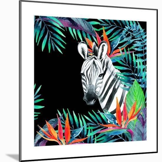 Zebra and Exotic Flowers Watercolor-tanycya-Mounted Premium Giclee Print